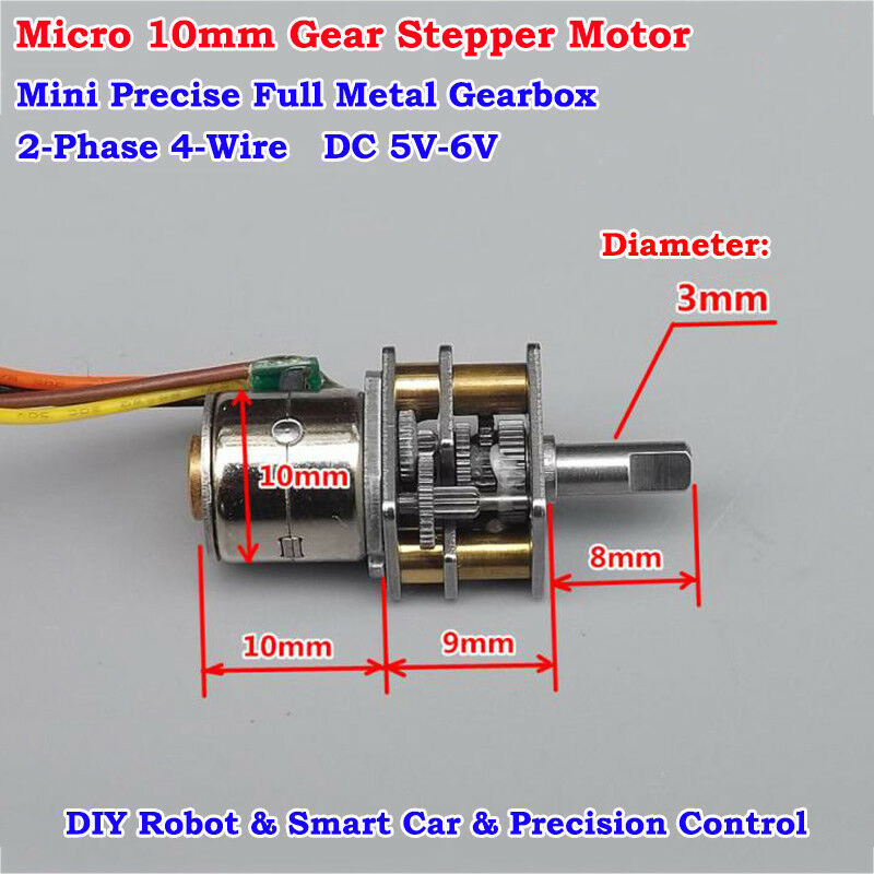 DC 5V Full Metal Gearbox Gear Stepper Motor 2-Phase 4-Wire 28mm Long Shaft New