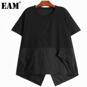 [EAM] Women Gray Irregular Back Oblique Buckle Big Size T-shirt New Round Neck Short Sleeve Fashion Tide Summer 2021 1DD6785 1