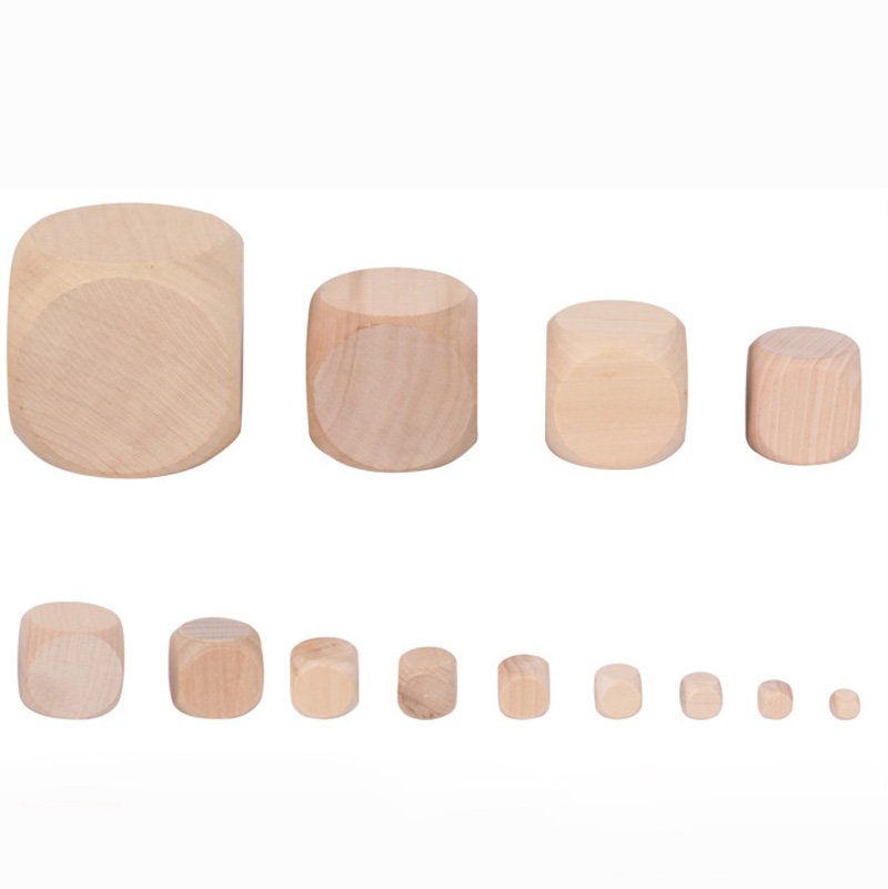 1 Piece Blank Round Coener Dice Set Wooden 6 Sided Dice DIY Education Board Game Accessory30-60mm