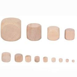 1 peça em branco redondo coener dice conjunto de madeira 6 lados dados educação diy jogo tabuleiro Accessory30-60mm