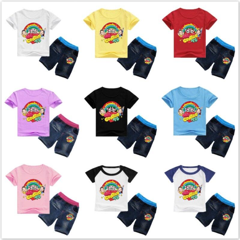 >Summer Baby Boys Clothes Sets Cartoon Me Contro Te Print Children Girl Short Sleeve <font><b>T</b></font> <font><b>Shirts</b></font>+<font><b>Jeans</b></font> Shorts 2PCS Suits Kid <font><b>Outfit</b></font>