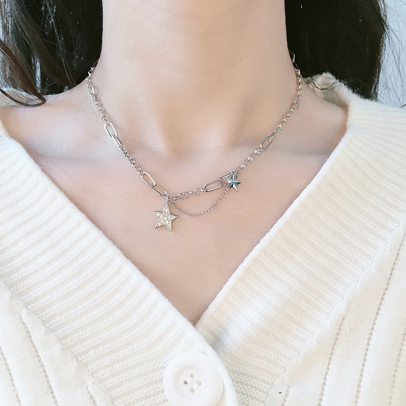 2020 nova chegada reto estrela pingente thai prata cor colar para mulheres festa clavícula corrente colar jóias para meninas