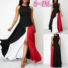 Color Block Split Dress Streetwear Women Casual Clothes 2019 Casual Maxi Dresses High Waist Color Contrast Long Dress цены