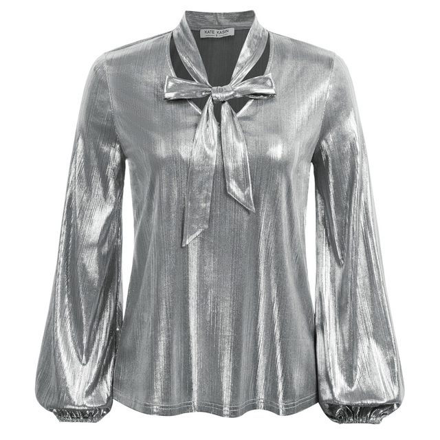 Kate Kasin Women Shirts Shiny Metallic-Like Blouse Long Sleeve V-Neck Bow-knot Decorated Tops Summer Sexy Elegant OL Lady Work 2