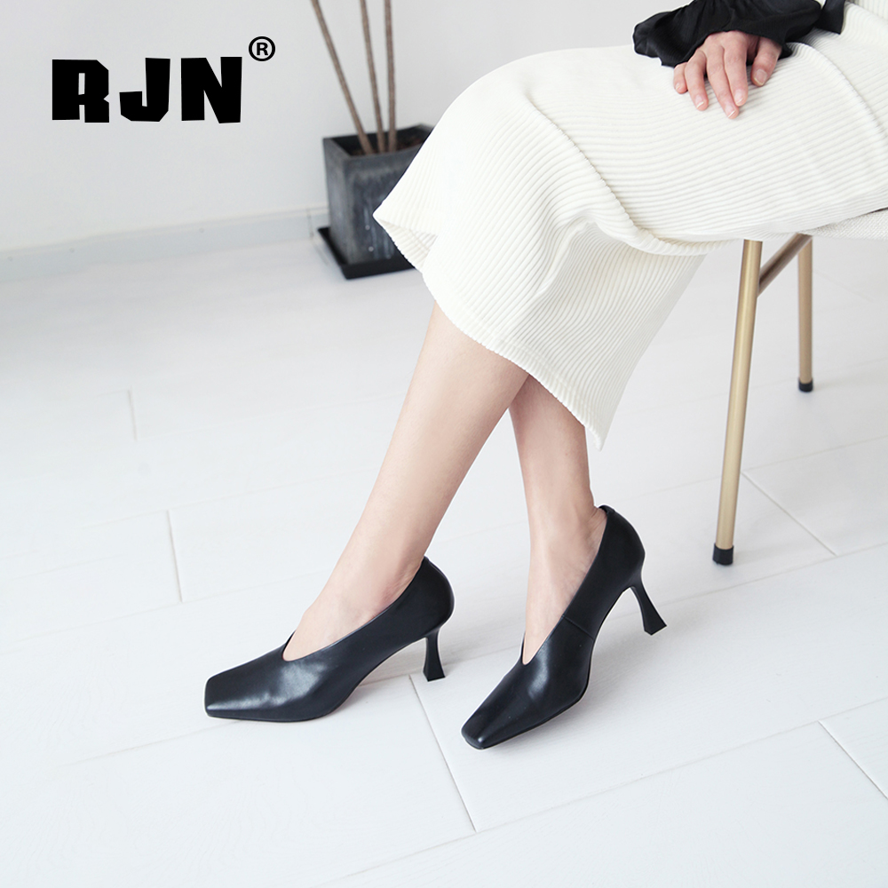Hot Sale RJN Elegant Women Pumps High Quality Genuine Leather Slip-On Solid Square Toe Thin High Heel Ladies Shallow Well Shoes RO37