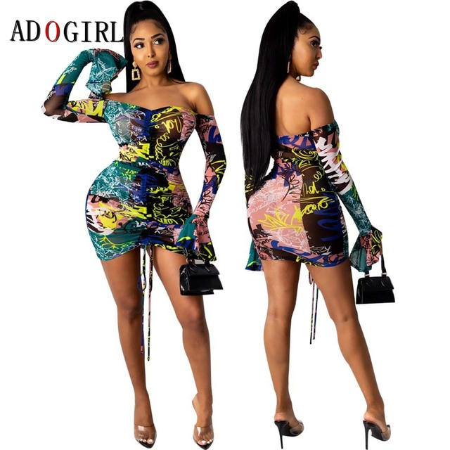 Adogirl Snake Print Long Sleeve Dress Women Evening Party Night Dresses Sexy See Through Drawstring Bodycon Slim Mini Dress 3