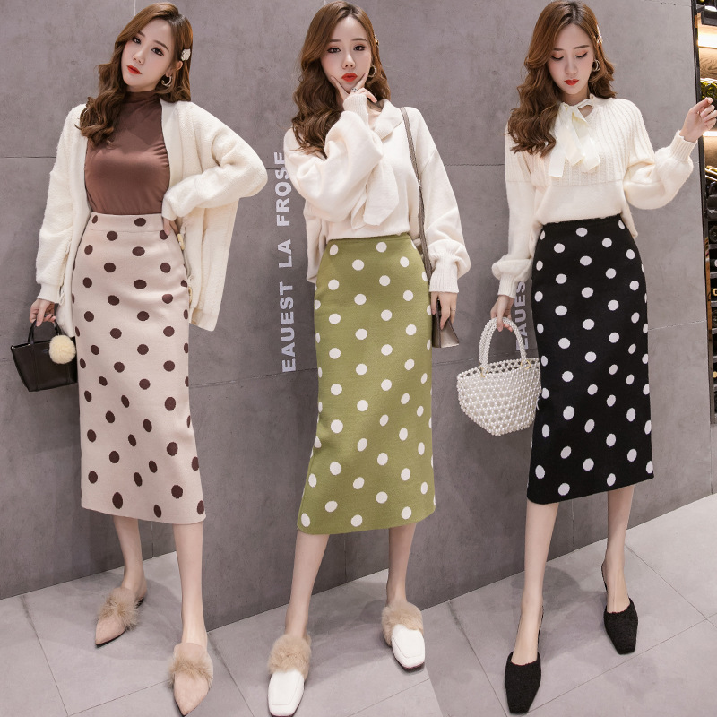 Photo Shoot 019 New Style Autumn And Winter Polka Dot Thick Knitted Skirt Women's Slit Sheath High-waisted Mid-length One-step S