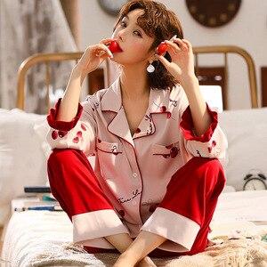 Image 1 - Sonbahar kış yeni ev giyim uzun kollu pamuklu pijama rahat uyku seti 2 adet gecelik pijama pijama takım elbise sevimli ev tekstili