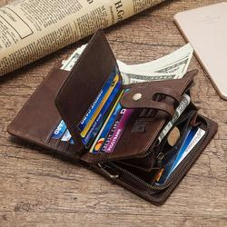 HUMERPAUL genuine leather RFID vintage men wallet with coin pocket Short hasp zipper wallets brand with card holders top quality