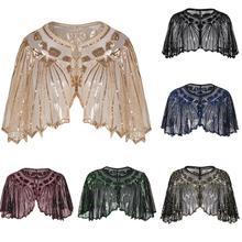 Vintage 1920s Flapper Schal Pailletten Perlen Kurzen Cape Perlen Dekoration Gatsby Party Mesh Kurze Cover Up Kleid Zubehör