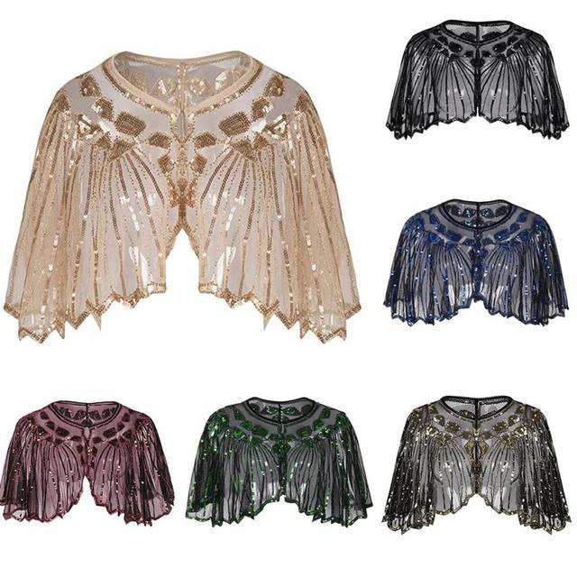 Vintage 1920s sineklik şal pullu boncuklu kısa pelerin boncuklu dekorasyon Gatsby parti örgü kısa Cover Up elbise aksesuarı