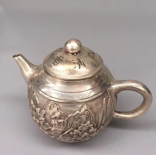 China handmade antique QianLong Tibetan silver Plum Flagon Teapots