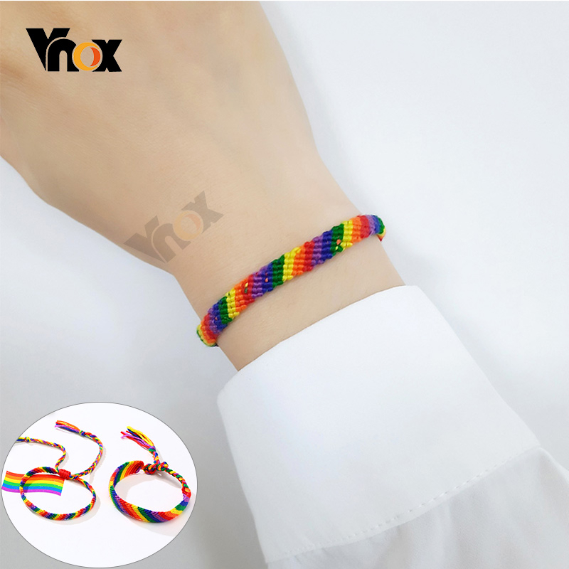 Vnox Casual Handmade Braided Rainbow Color Rope Chain Bracelets for Women Men Trendy Unisex LGBT Gifts Jewelry