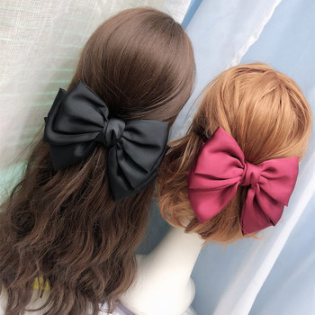 Three Levels Ribbon Big Large Bow Hairpin For Women Girls Stripe Trendy Hair Clips Fashion Barrette Hairgrips Hair Accessories ubuhle fashion women full pearl hair clip girls hair barrette hairpin hair elegant design sweet hair jewelry accessories 2019