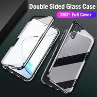 Custodia magnetica in vetro a doppia faccia per Samsung Galaxy S20 FE Ultra S10 S9 S8 Plus M31 Note10 20 8 9 A80 A71 A50 Cover per telefono
