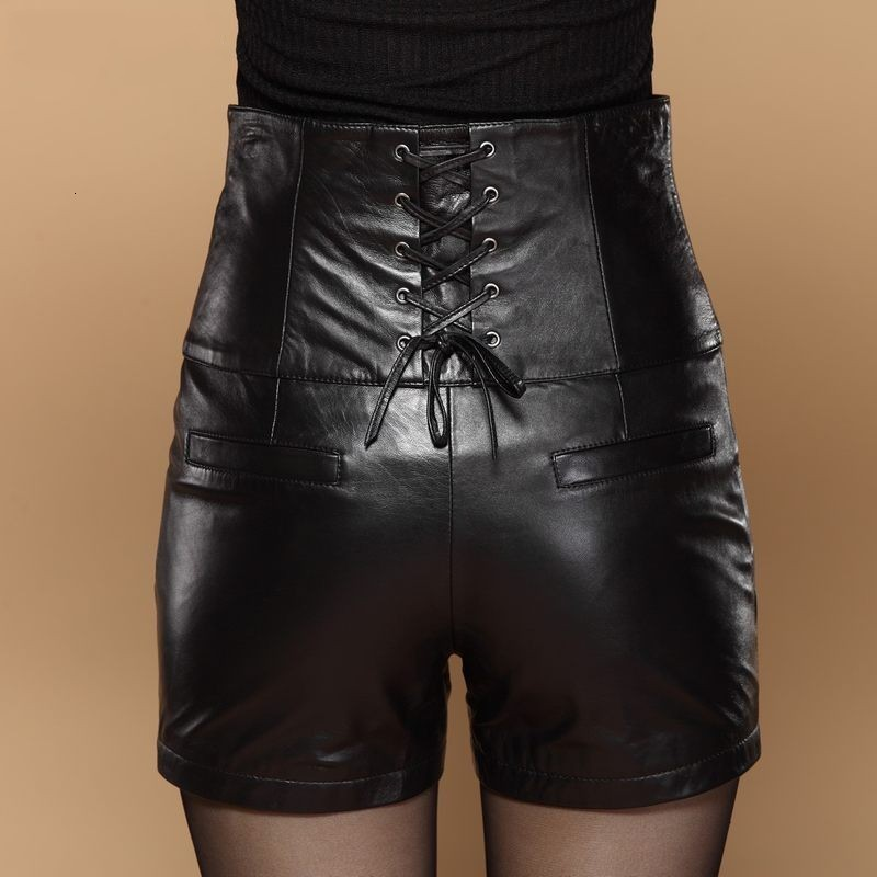 High Waist Sexy Leather Shorts For Women Chic Cross-tie Slim Fitness High Quality Leather Shorts Elegant Hot Plus Size 5XL