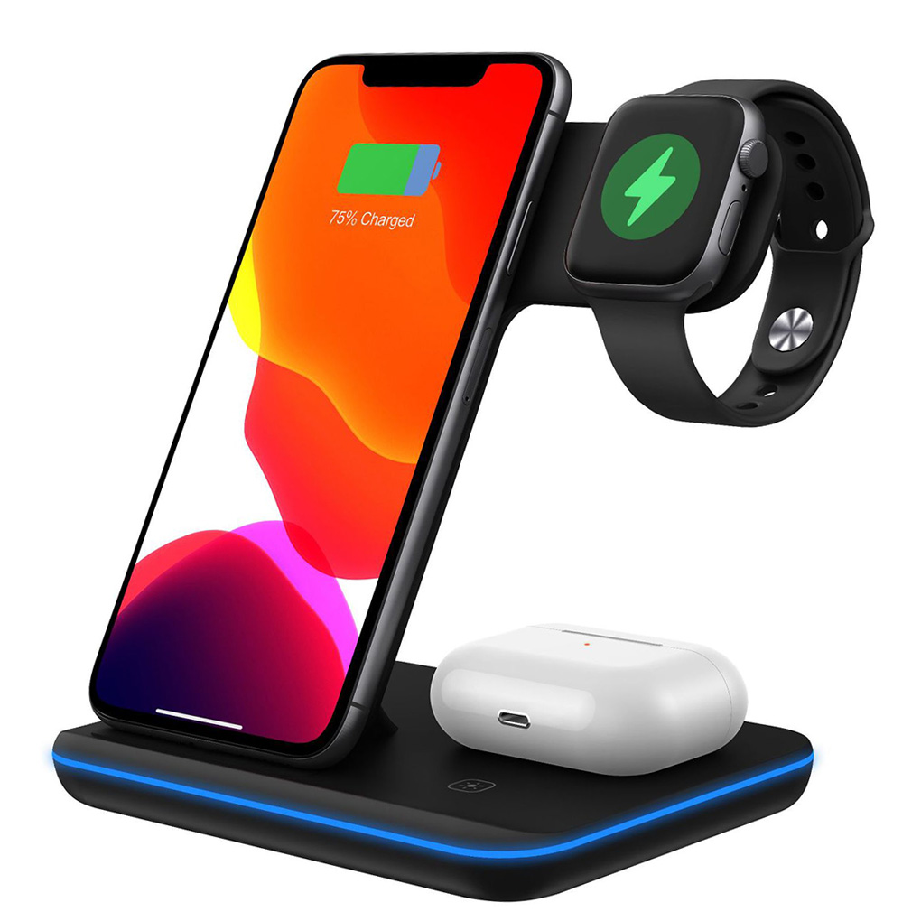 15W Qi Wireless Charger 3 In 1 Fast Charging Stand For iPhone 12 XR X 8 Apple Watch Quick Charging Dock Station For AirPods Pro