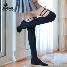 2020 nova sexy fasion sobre o joelho meia com gravata nightclub meia-calça calcetines preto lolita meias de renda superior coxa alta