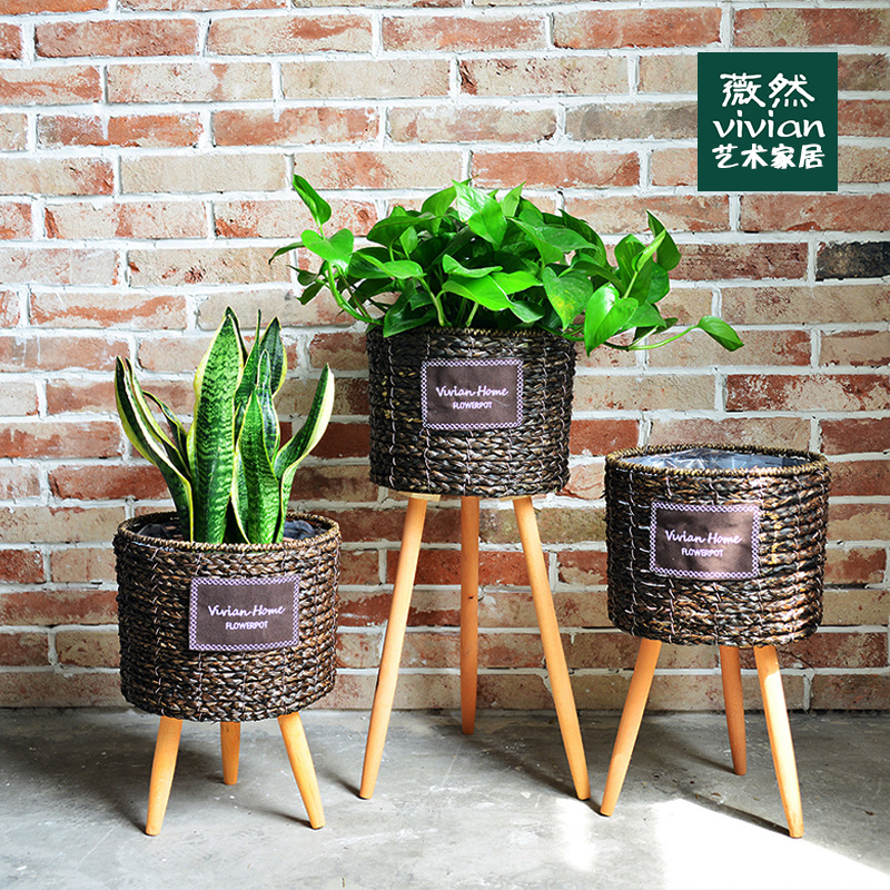 Nordic Wooden Balcony Handmade Flower Stand Creative American Brief Indoor Plant Stand Outdoor Flower Rack  Garden Stand Shelf