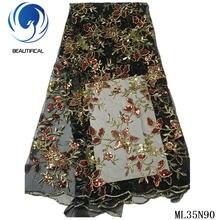 Красивое африканское тюлевое кружевное платье с блестками ткань