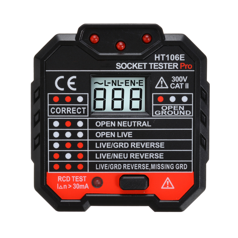 48 - 250V New Professional Electric Socket Tester RCD UK Plug Socket  Voltage Tester Leakage Switch Detector Measurement