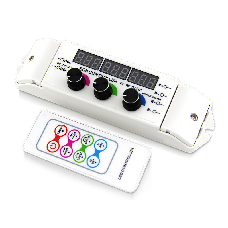 DC12/24V compatible knob rotated rgb led controller with 8-keys rf control panel work with kinds of common rgb led luminares