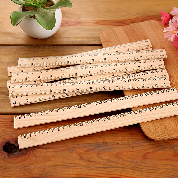 40pcs High Quality 30cm Wooden Ruler Metric Rule Double Sided Measuring Tool Learning Office Stationery Kawaii Accessories