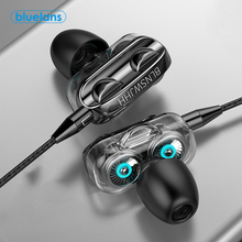 Dual Drive 6D Stereo Wired Earphone Universal In-Ear Heavy Bass Stereo Wired Earphones Sports Gaming Headsets with Mic For Phone