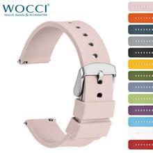 WOCCI Силиконовый резиновый ремешок для часов для женщин, женщин 14мм 18мм 20мм 22мм 24мм моющийся 13 цветов Спортивный ремешок для часов Quick Release