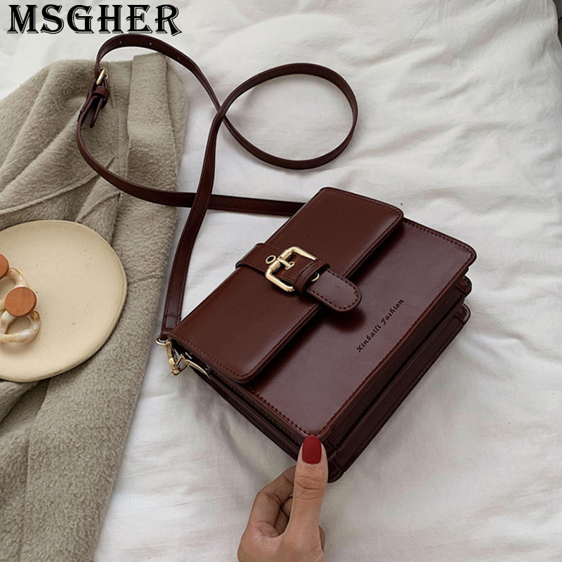 MSGHER Solid Flap Women Shoulder Bag Concise French Vintage Classical Texture Style Joker Temperament Massage Lady Bag WB3151