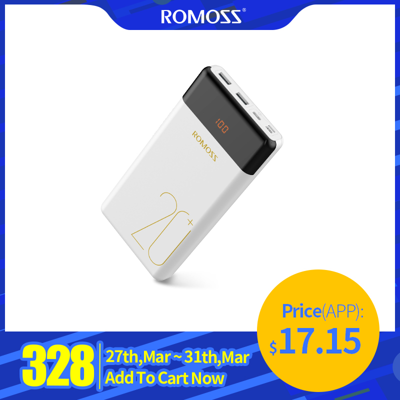 20000mAh ROMOSS LT20 Pro Power Bank Portable External Battery With PD Two-way Fast Charging Portable Charger For Phones Tablet