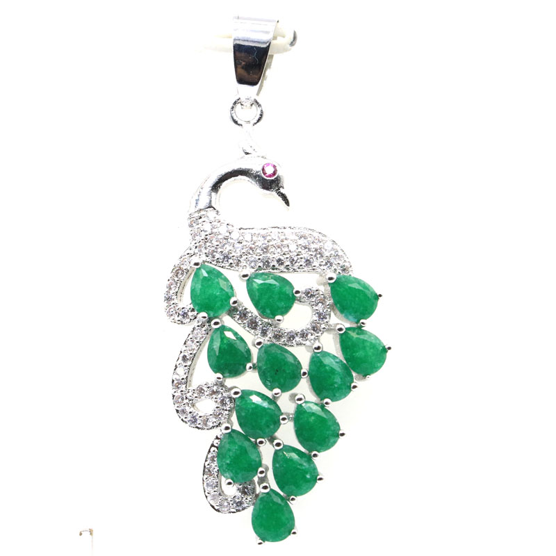 46x20mm Beautiful Created Real Green Emerald CZ Gift For Woman's Wedding Silver Pendant