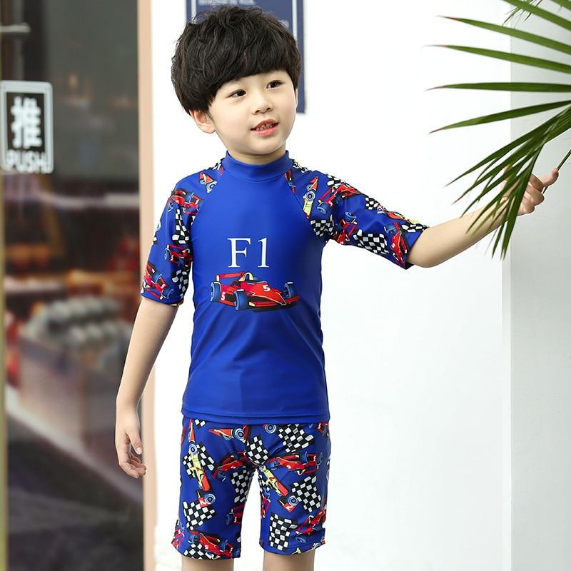 CHILDREN'S Long-sleeve Swimsuit Girls Sun-resistant Split Type Set Summer Quick-Dry Snorkeling Suit Surf Wear Small Children Swi