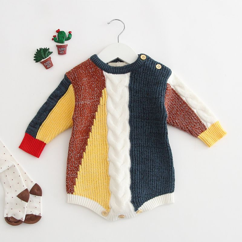 Newborn Baby Boy Girl Romper Autumn Winter Knitted Clothes Long Sleeve Cotton Infant Baby Girl Boy Romper Baby Jumpsuit 0-24M