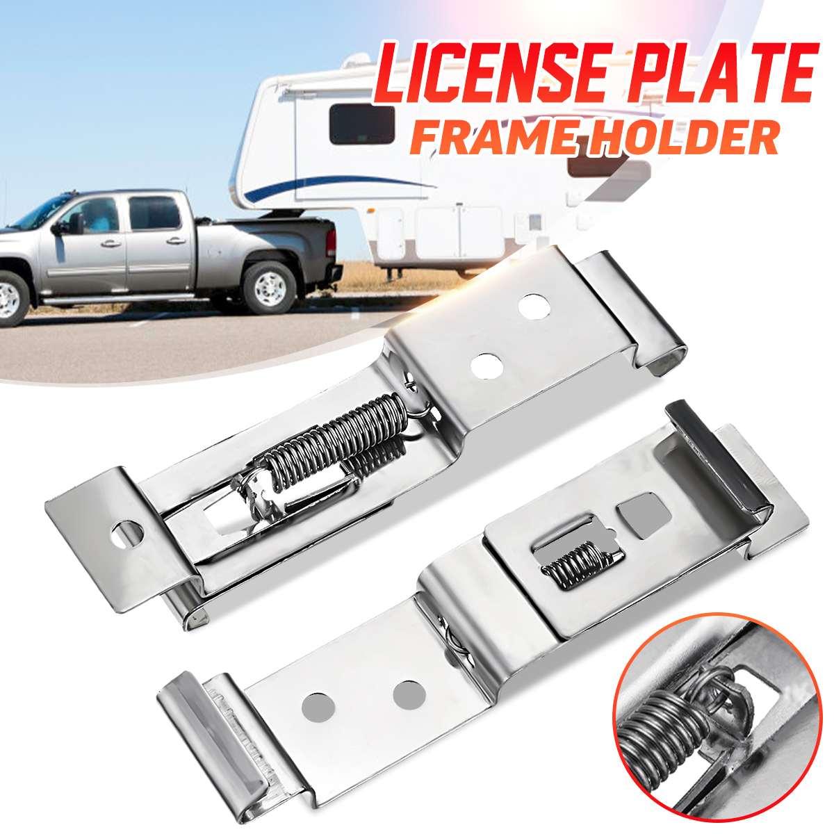 2Pcs European EU Stainless Steel Car Number License Plate Frame Holder Bracket Rack For Camper Trailer Truck Clips Cover Spring