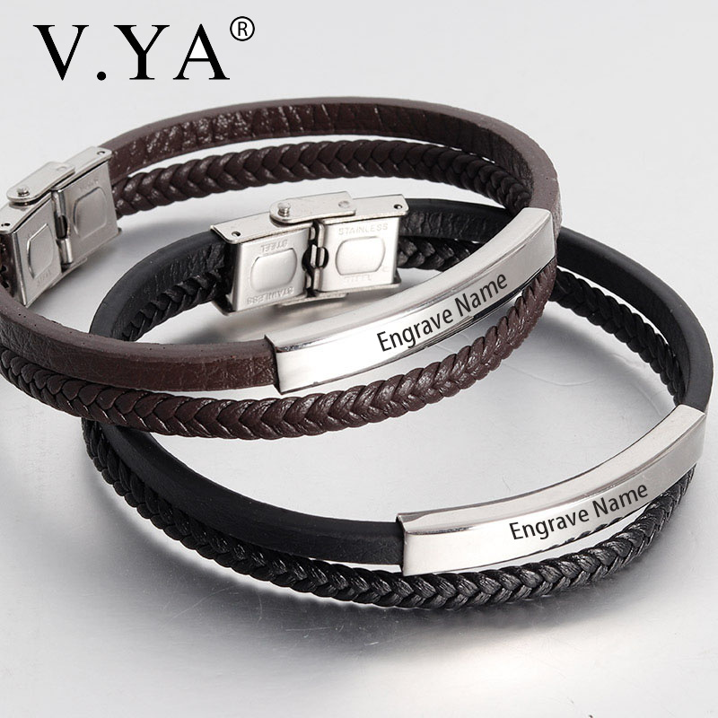 V.YA DIY Custom Engrave Name Men's Bracelets Fashion Personiality Double Leather Chain Wristband Jewelry Bracelets For Man Gift