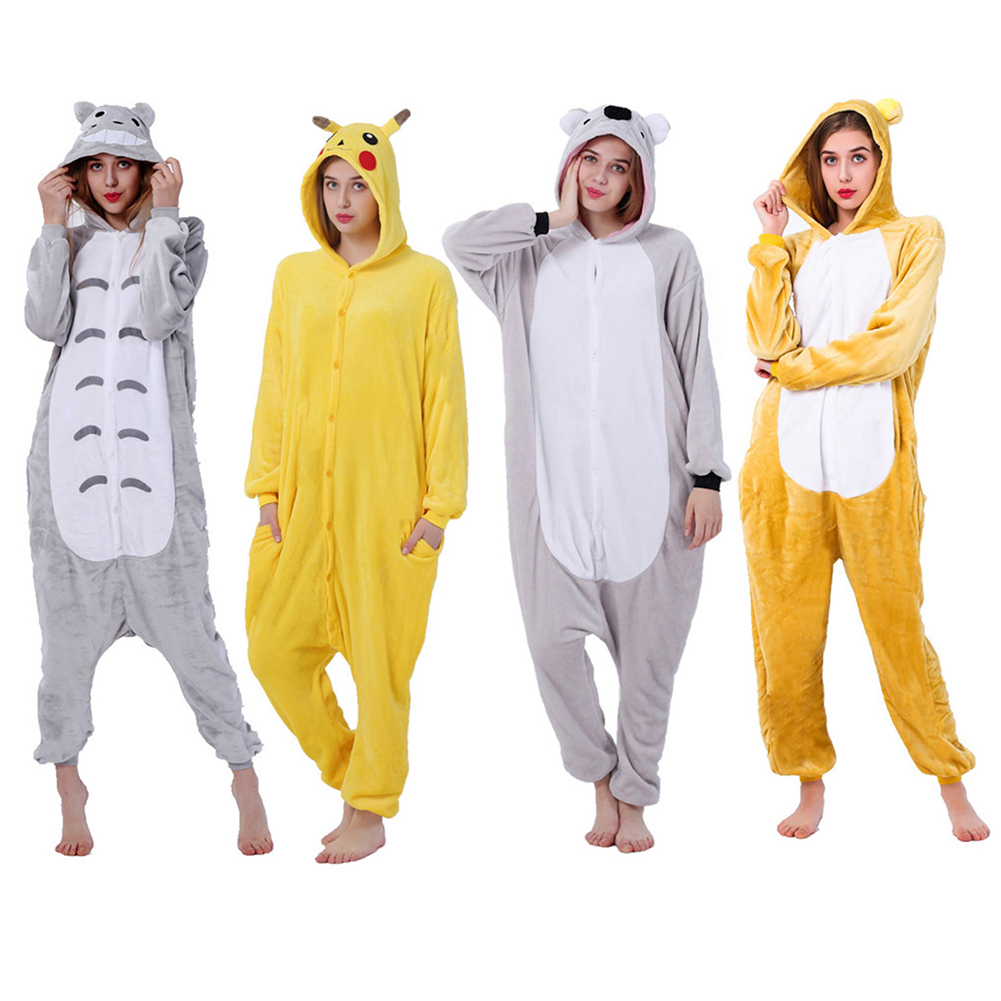 Pajamas For Women My Neighbor Totoro Kigurumi Flannel Cute Animal Pajamas Sets Women Winter Sleepwear Nightie Pyjamas Home Wear