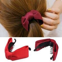 Корейский сладкий тканевый бант коготь для волос элегантная женская однотонная ткань Галстуки банановые волосы краб зажимы конский хвост держать девушки аксессуары для волос