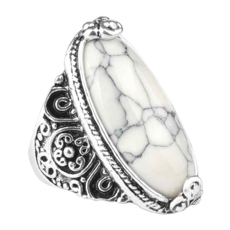 ดอกไม้วงรีหินธรรมชาติแหวนผู้หญิงวินเทจโบราณเงิน 5 สีแฟชั่น Retro เครื่องประดับ
