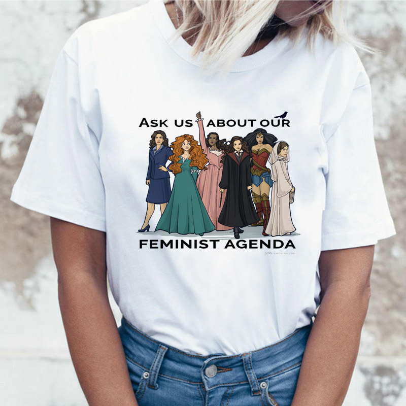 ask us about our feminist agenda letter print t-shirt graphic tees women clothes 2019  harajuku shirt vogue funny t shirts