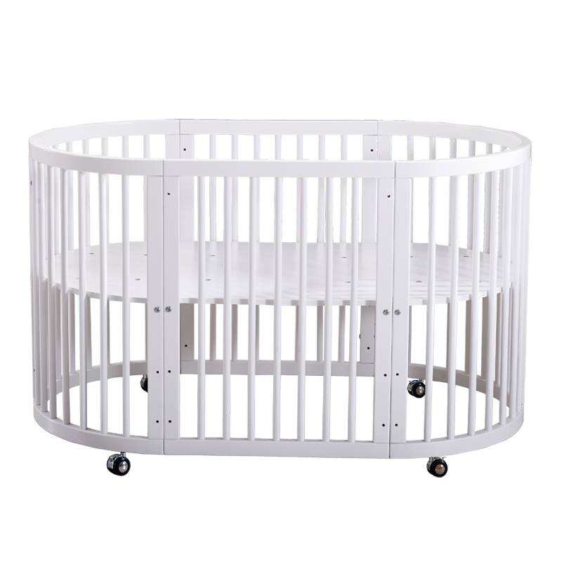 Crib Solid Wood Baby  Round Bed Can Be Spliced Big Bed Crib Multifunction Bb Cradle Bed