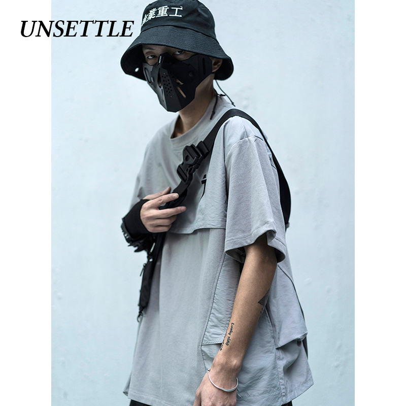 UNSETTLE 2020SS Men/Women Japanese Patchwork Streetwear T-Shirts Mens Hip Hop Casual Fake Two Pieces Short Sleeve Tops Tshirts