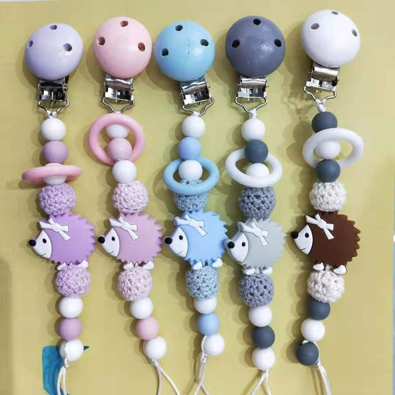 Lovely Hedgehog Shape Newborn Silicone Pacifier Chain Safety Teething Toy 19QF
