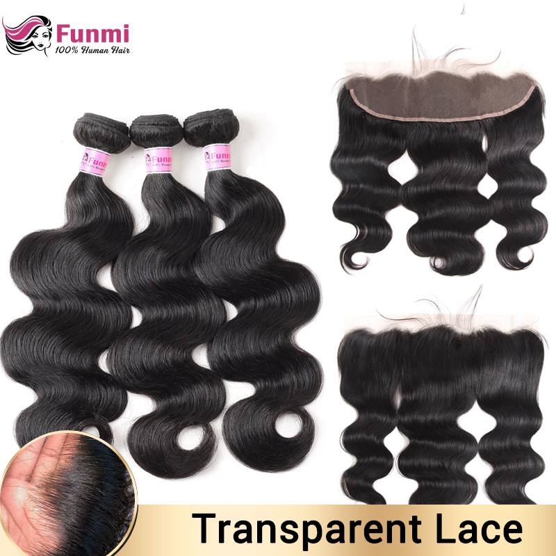 Transparent Lace Frontal With Bundles Indian Body Wave Bundles With Frontal Human Hair Bundles With Frontal For Black Women