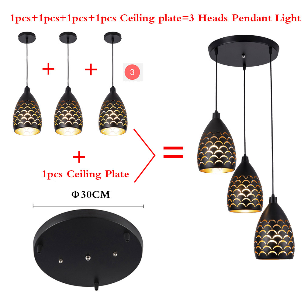 Image 5 - Scaly hollow style iron ceiling droplight led ceilight light cord pendant lamps for living room restaurant stairway lightingCeiling Lights   -