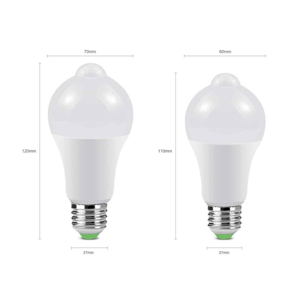 PIR חיישן תנועת מנורת 110/220V E27 LED לילה אור מאור 12W 18W חכם הנורה מדרגות מסדרון מסלול מסדרון תאורת ביטחון