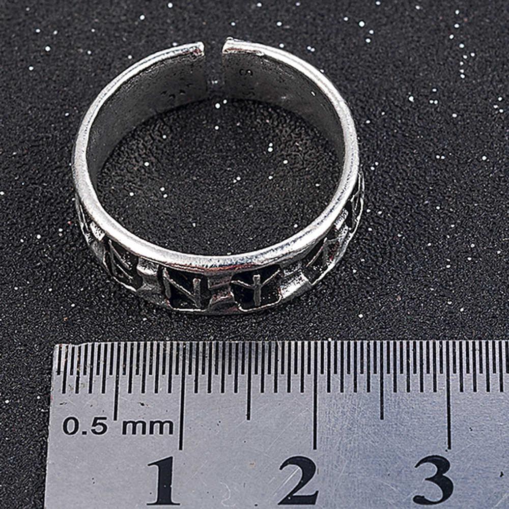 Punk แฟชั่นสไตล์โบราณ Retro เครื่องประดับชายแหวนไวกิ้งหญิงสีดำ Amulet Vintage นอร์ส Rune แหวนผู้หญิงผู้ชาย