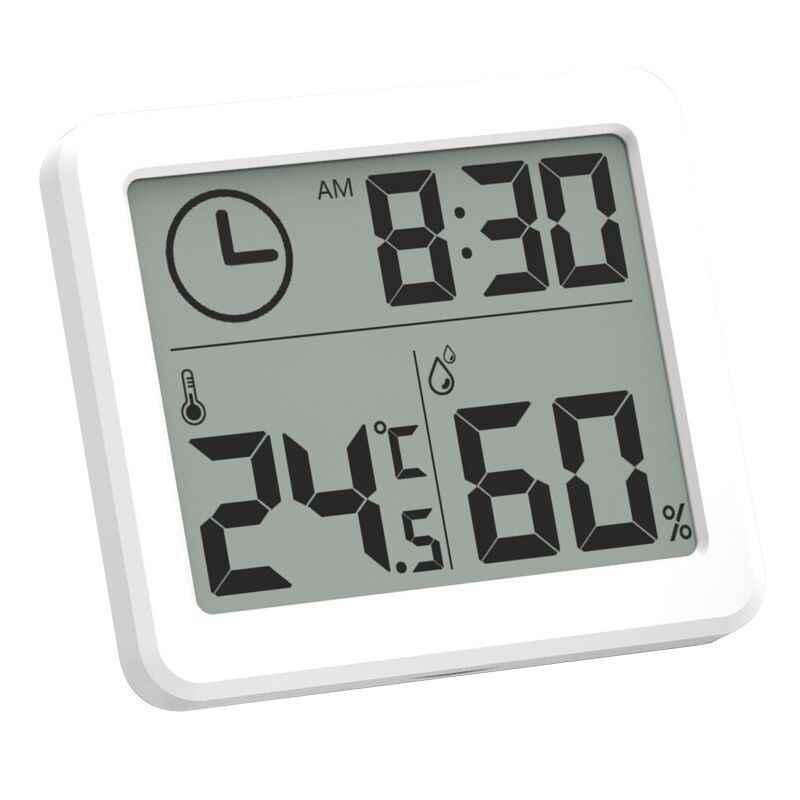 จอ LCD ขนาดใหญ่ 3.2 นิ้วมัลติฟังก์ชั่เครื่องวัดอุณหภูมิเครื่องวัดความชื้นอัตโนมัติอิเล็กทรอนิกส์อุณหภูมิความชื้นนาฬิกา