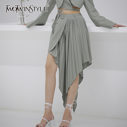 TWOTWINSTYLE Sexy Irregular Women Skirt High Waist Patchwork Pleated Asymmetrical Midi Skirts For Female Fashion Clothing Tide