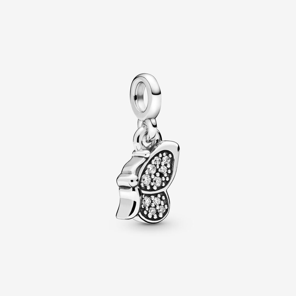 Jrsr novo 100% 925 contas de prata esterlina branco zircão borboleta balançar charme caber pandora pulseira mulher jóias diy frete grátis
